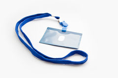 Badge. With blue ribbon isolated on white Stock Photography