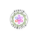 Badge as part of the design - Cosmetics logo Sticker, stamp, logo - for design, hands made. With the use of floral Stock Photo