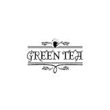 Badge as part of the design - Green tea Sticker, stamp, logo - for design, hands made. With the use of floral elements Royalty Free Stock Photos