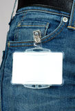 Badge attached to jeans,  Stock Image