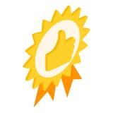 Badge avec des pouces vers le haut d'icône, le style 3d isométrique Photographie stock