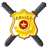 Badge and batons police. Police Symbols - metal badge and crossbones batons Royalty Free Stock Photos