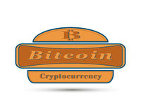 The badge with bit coin symbol Stock Photo