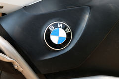 Badge of BMW motorcycle at Yearly Mass Ride Royalty Free Stock Images