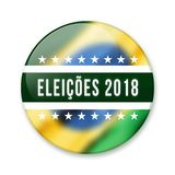 Badge for the Brazilian elections of 2018. Rounded badge written Eleicoes 2018 with the brazilian flag theme blurred on background stock illustration