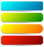 Badge, button, banner set in 4 bright color with slight 3d effec Stock Photography