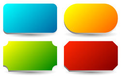 Badge, button, banner set in 4 bright color with slight 3d effec Royalty Free Stock Images