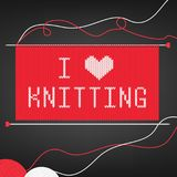 Vector illustration for needlewomen with knitting needles, yarn balls,knitting and lettering `I love knitting` on black background. For badge and card Royalty Free Stock Photo