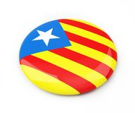 Badge Catalan nationalist flag on a white background 3D illustration, 3D rendering. Badge Catalan nationalist flag on a white background 3D illustration, 3D Stock Photo