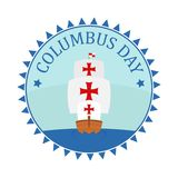 Badge for Christopher Columbus Day with caravel stock photography
