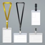 Badge, clip and lanyard vector templates Stock Images