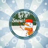 Badge con el bosque lindo del muñeco de nieve y del pino, - déjelo Fotos de archivo