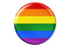 Badge con la bandera gay del arco iris, representación 3D Fotos de archivo