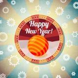 Badge con la chuchería linda del Año Nuevo, y - nuevo feliz Imagen de archivo libre de regalías