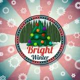 Badge con la Navidad linda, árbol del Año Nuevo, pino Fotografía de archivo libre de regalías