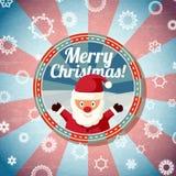 Badge con Papá Noel lindo, y - Feliz Navidad Fotos de archivo libres de regalías