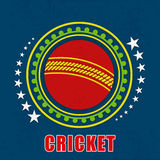 Badge with cricket ball. Royalty Free Stock Photography