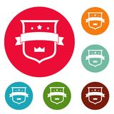 Badge crown icons circle set vector. Isolated on white background Royalty Free Stock Photography