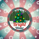 Badge with cute christmas, new year tree, pine. Badge with cute christmas and new year tree and pine forest, with -Bright Winter- wishes. Retro stylized Royalty Free Stock Photography