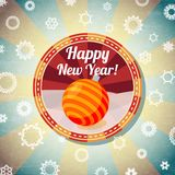 Badge with cute new year bauble, and -Happy New. Badge with cute new year bauble, with -Happy New Year- wishes. Retro stylized background on bright textured Royalty Free Stock Image