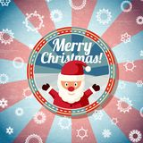 Badge with cute santa claus, and -Merry Christmas. Badge with cute santa claus, with -Merry Christmas- wishes. Retro stylized background on bright textured paper Royalty Free Stock Photos