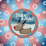 Badge with cute santas deer, and -Have a ride-. Badge with cute santas deer, with -Have a ride- wishes. Retro stylized background on bright textured paper with Stock Image