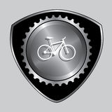 Badge cycling gear design. Bicycle badge with gear part for service design vector illustration