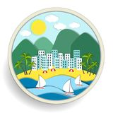 Badge depicting holidays at the sea Royalty Free Stock Photos