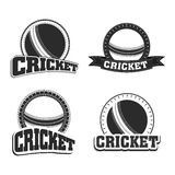 Badge design with ball for cricket sports. Retro style black and white badge and label with ball and text cricket, sports concept Stock Photography