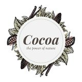 Badge design with cocoa tree elements and vanilla vector illustration
