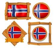 Badge design for flag of Norway. Illustration Stock Images
