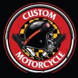 Badge design of vintage rider skull Royalty Free Stock Photos