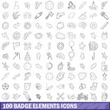 100 badge elements icons set, outline style Stock Photo