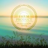 Badge en el estilo retro para las semillas ecológicamente puras Fotografía de archivo