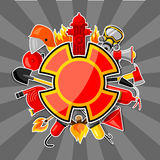 Badge with firefighting sticker items. Fire protection equipment.  Royalty Free Stock Photography
