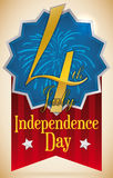 Badge with Fireworks, Golden Text and Ribbon for Independence Day, Vector Illustration Royalty Free Stock Photo