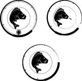 Badge fish. Badge with fish and fishing rod Royalty Free Stock Images