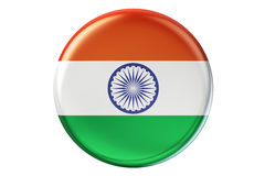 Badge with flag of India, 3D rendering Royalty Free Stock Photo