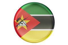 Badge with flag of Mozambique, 3D rendering Royalty Free Stock Image
