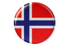 Badge with flag of Norway, 3D rendering. Isolated on white background Stock Image
