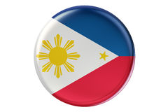 Badge with flag of Philippines, 3D rendering Royalty Free Stock Photography
