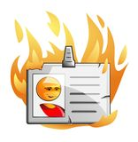 Badge in flame Stock Photos