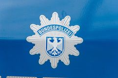 Badge of German Federal Police Bundespolizei or BPOL. Berlin, Germany - August 18, 2018: Badge of German Federal Police Bundespolizei or BPOL royalty free stock image