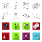 Badge, geste d'opérateur et d'autres accessoires pour le film Fabrication des icônes de collection de décor de film dans le conto Photo libre de droits