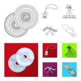 Badge, geste d'opérateur et d'autres accessoires pour le film Fabrication des icônes de collection de décor de film dans le conto Photographie stock libre de droits