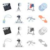 Badge, geste d'opérateur et d'autres accessoires pour le film Fabrication des icônes de collection de décor de film dans la bande Photo stock