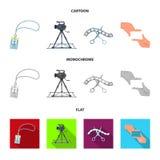 Badge, geste d'opérateur et d'autres accessoires pour le film Fabrication des icônes de collection de décor de film dans la bande Photographie stock