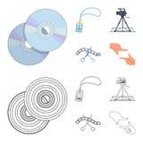 Badge, geste d'opérateur et d'autres accessoires pour le film Fabrication des icônes de collection de décor de film dans la bande Photo libre de droits