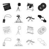 Badge, geste d'opérateur et d'autres accessoires pour le film Fabrication des icônes de collection de décor de film dans le noir, Photo stock