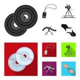 Badge, geste d'opérateur et d'autres accessoires pour le film Fabrication des icônes de collection de décor de film dans le style Image stock